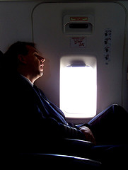Pilot sleeping in the airplane