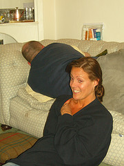 Wife smiling, husband snoring